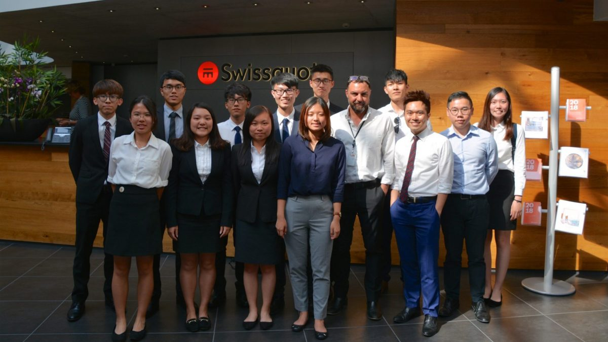 The group at Swissquote headquarters at Gland